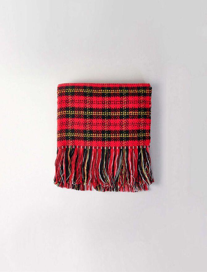 Echarpe en laine mélangée à carreaux -  - MAJE