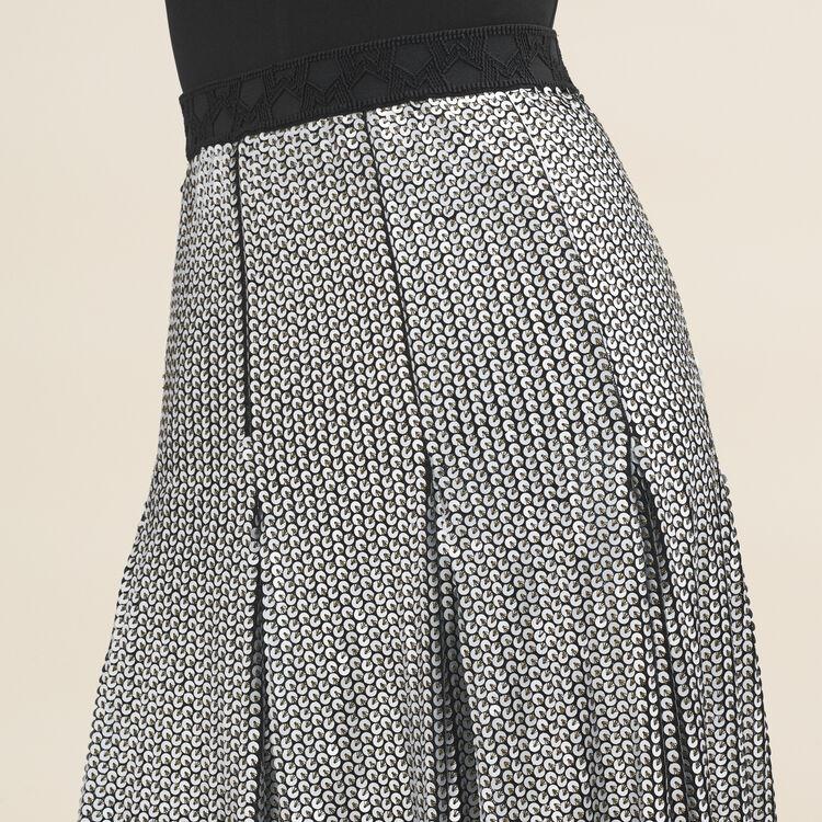 Jupe midi à sequins : Jupes & Shorts couleur Argent