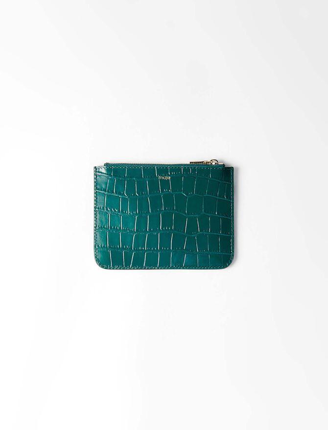 Pochette zippée en cuir embossé - Petite maroquinerie - MAJE
