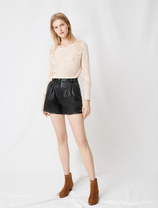 Short en cuir à studs - Jupes & Shorts - MAJE