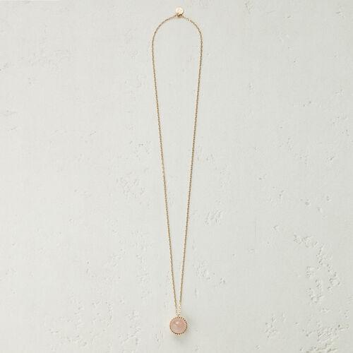 Collier long avec pendentif en pierre -  - MAJE
