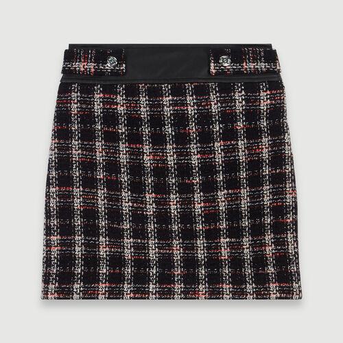 Jupe droite contrastée façon tweed : Collection hiver couleur Noir