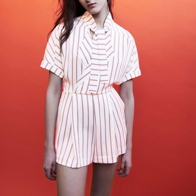 Combinaison-short rayée : Jupes & Shorts couleur Rayure
