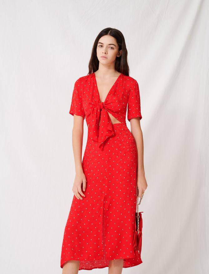 Robe longue nouée à imprimé pois - Robes - MAJE