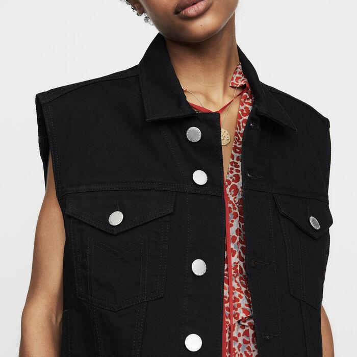 beny veste en jean sans manches blousons maje paris. Black Bedroom Furniture Sets. Home Design Ideas