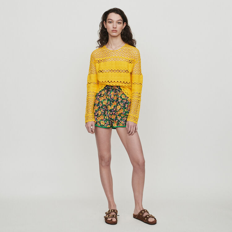 Pull oversize en maille crochet : Pulls & Cardigans couleur Jaune
