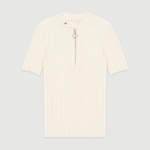 Pull à manches courtes en maille : Pulls & Cardigans couleur Ecru