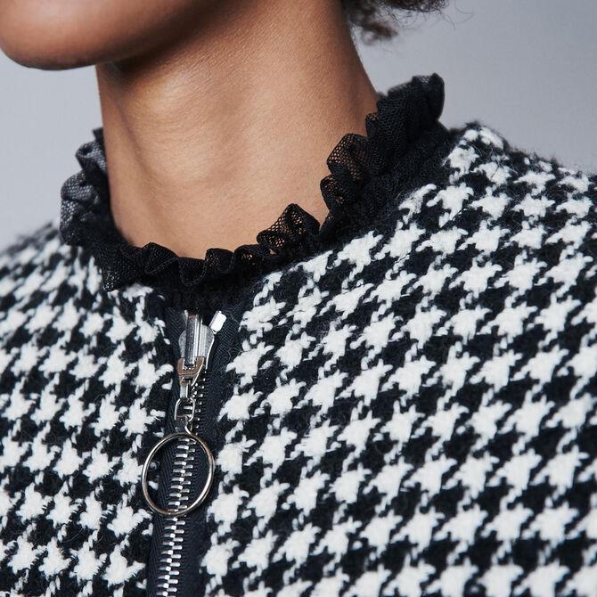 Manteau façon cape en pied-de-poule : Voir tout couleur Noir / blanc