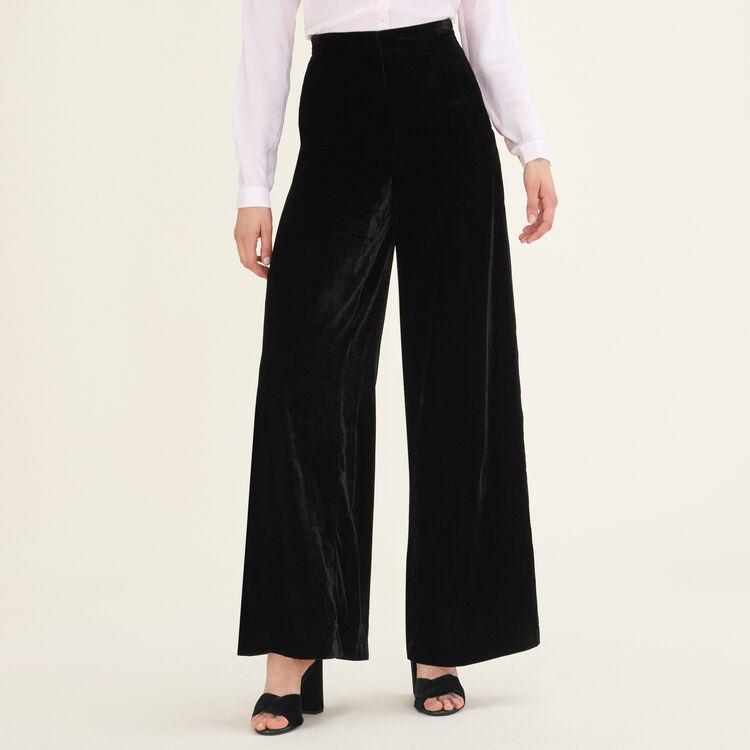 Pantalon large en velours : Pantalons & Jeans couleur Black