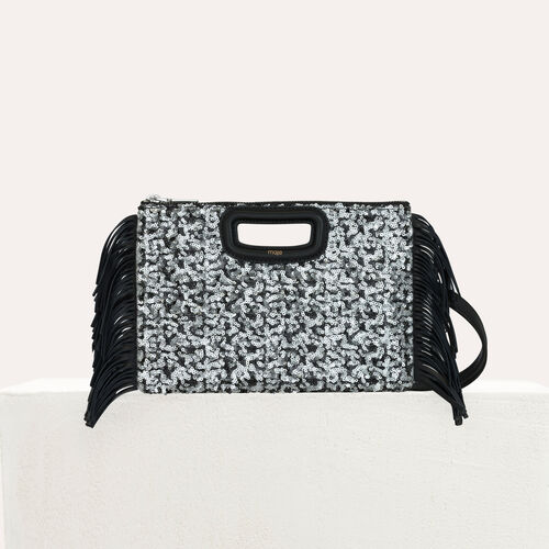 Pochette M Duo en sequins et cuir : M Duo couleur Black