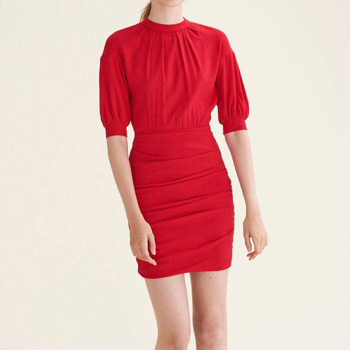 Robe drapée bimatière : Robes couleur ROUGE
