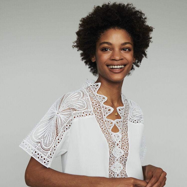 Top avec guipure : Tops & Chemises couleur Blanc Casse