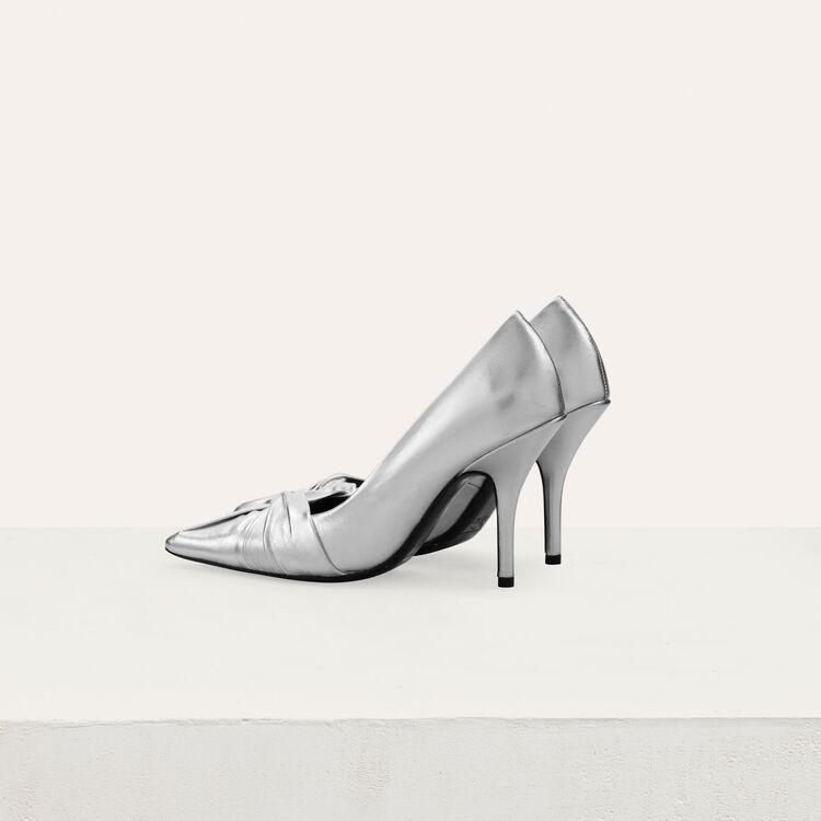 Escarpins drapés en cuir silver : Escarpins couleur Argent