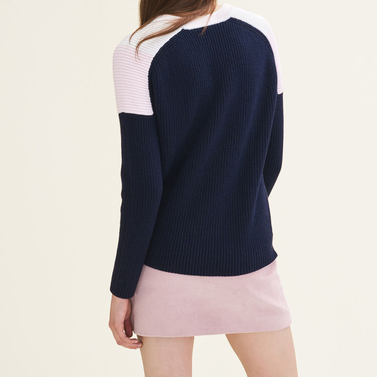 Pull tricolore à boutons-pression : Pulls & Cardigans couleur ROSE