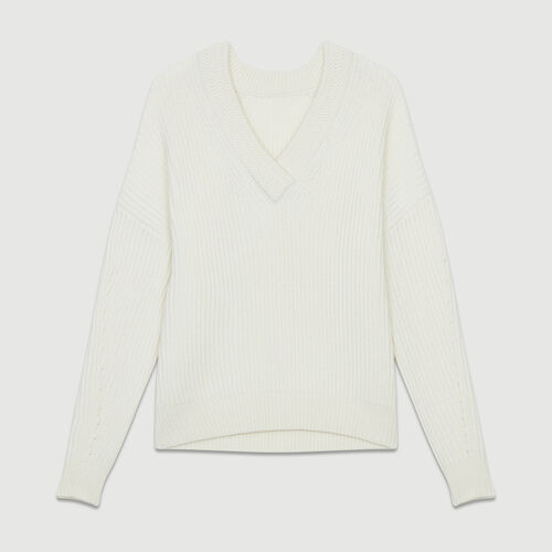 Pull manches longues col V : Maille couleur ECRU