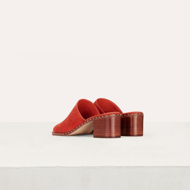 Mules a talon en suède : Escarpins couleur Terracotta