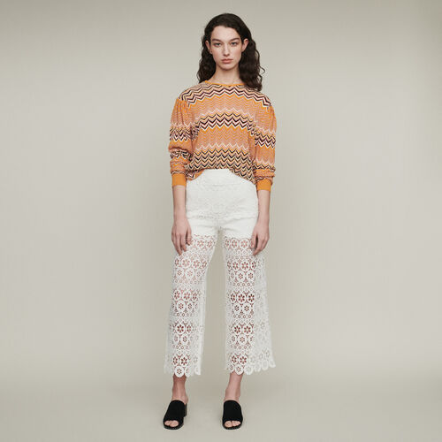 Pantalon en guipure marguerites : Pantalons & Jeans couleur BLANC