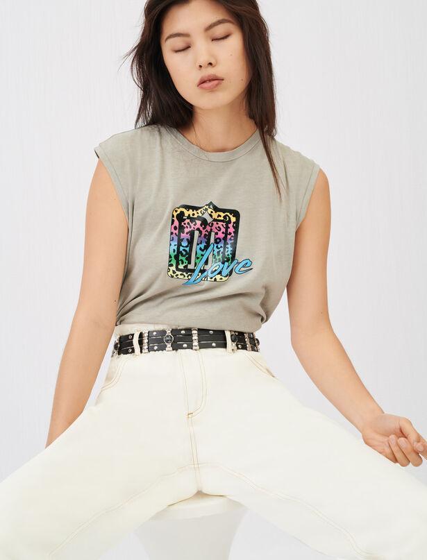 마쥬 민소매티 MAJE Tee-shirt sans manches serigraphie,Kaki