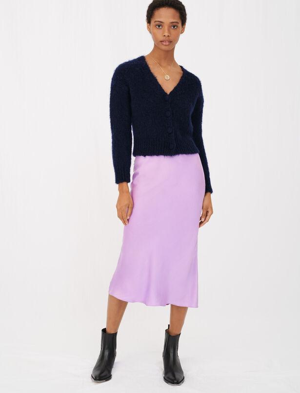 마쥬 모헤어 가디건 - 마린 (트와이스 나연 착용) MAJE MFPCA00155 Mohair cardigan with fancy buttons
