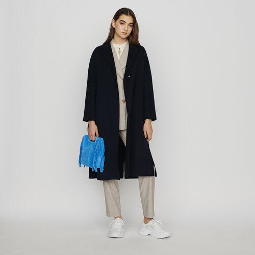 Manteau ceinturé en laine double face : Manteaux & Blousons couleur Marine