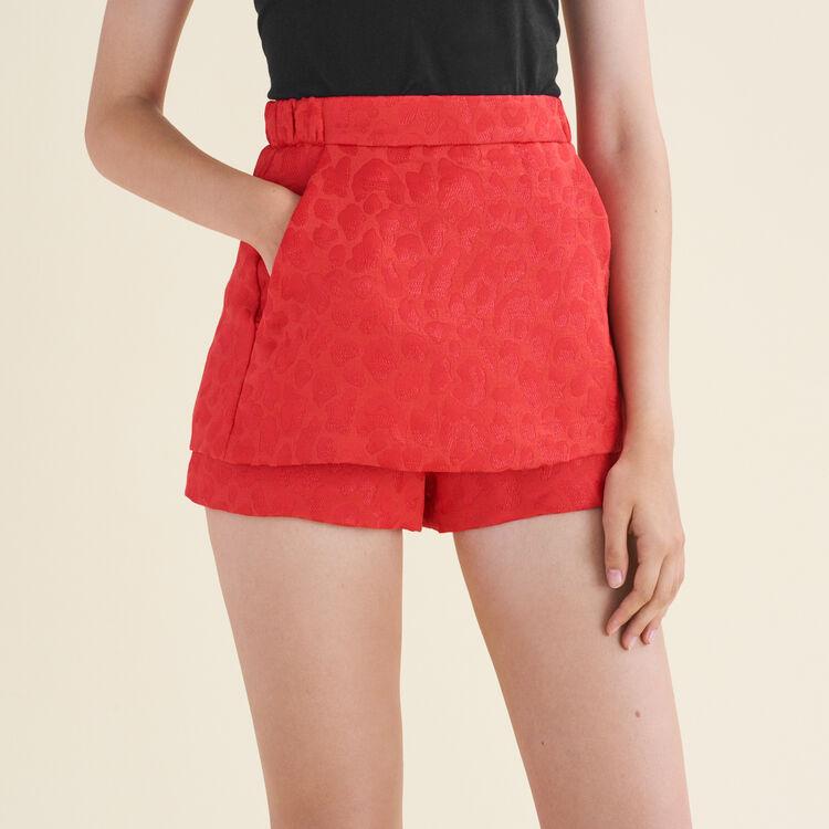 Short en jacquard avec motifs léopard : Jupes & Shorts couleur Jacquard