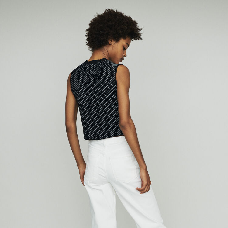 Pull sans manche à rayures : Maille couleur Rayure