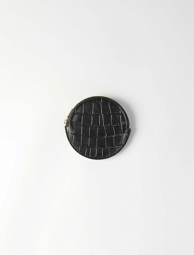 Porte-monnaie ceinture en cuir embossé -  - MAJE