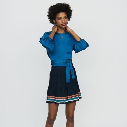 Short plissé avec rayures : Jupes & Shorts couleur Marine