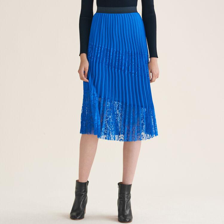Jupe plissée avec dentelle : Tout voir couleur Bleu