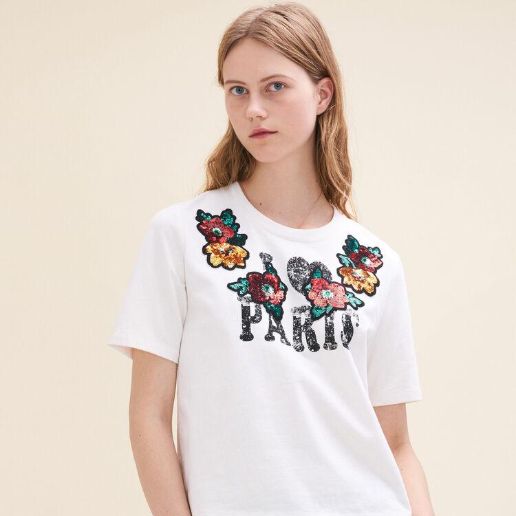 Tee-shirt basique avec sequins - T-Shirts - MAJE