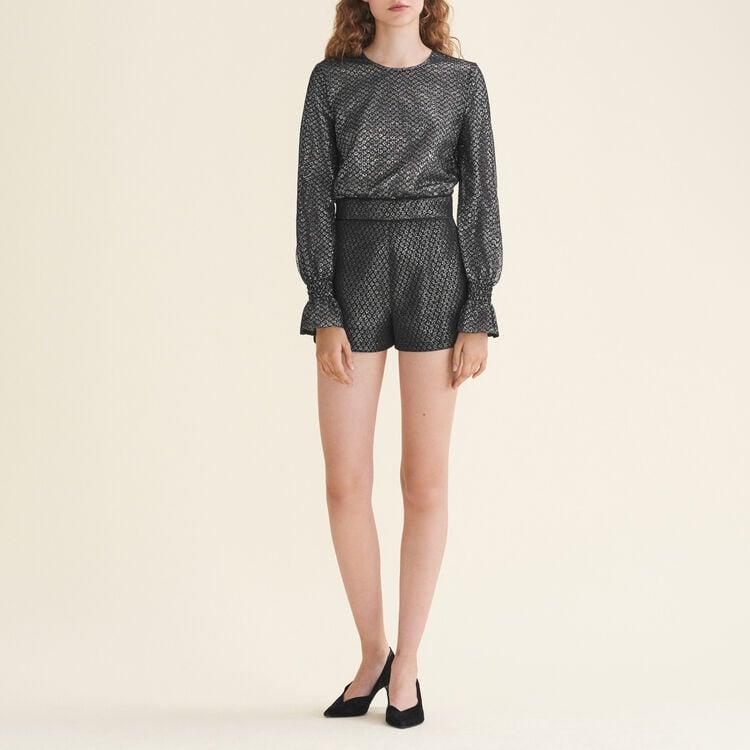 Combi-short en tulle et Lurex : Jupes & Shorts couleur Argent