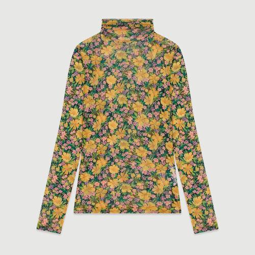 Tee-shirt à col roulé imprimé floral : T-Shirts couleur JAUNE