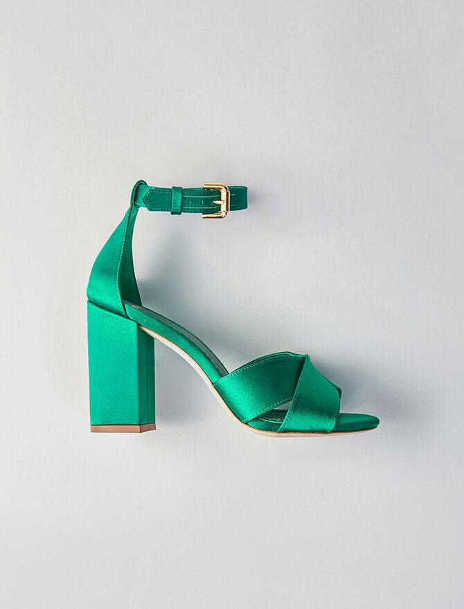 Sandales à talon et bride en satin - Toutes les chaussures - MAJE