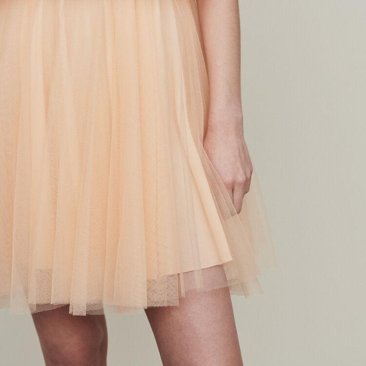 Robe en tulle à épaules dénudées : Robes couleur Mandarine