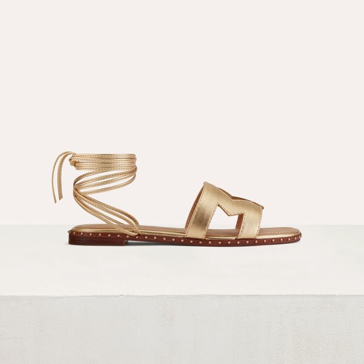 Sandales plates en cuir métallisé : Chaussures couleur Gold