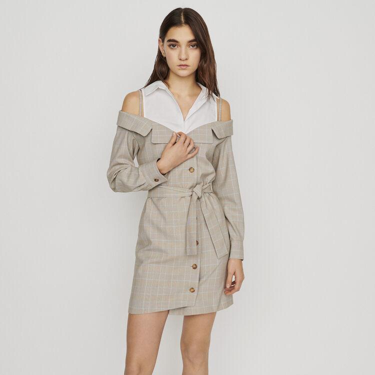 Robe courte trompe l'oeil ceinturée : New in : Collection Été couleur CARREAUX