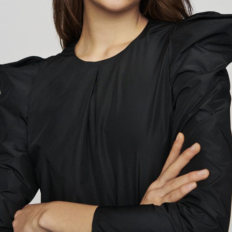 Top épaulé en taffetas : Tops couleur Black