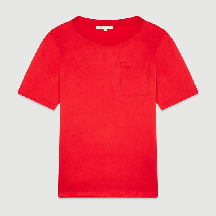 Tee-shirt bimatière : T-Shirts couleur Rouge