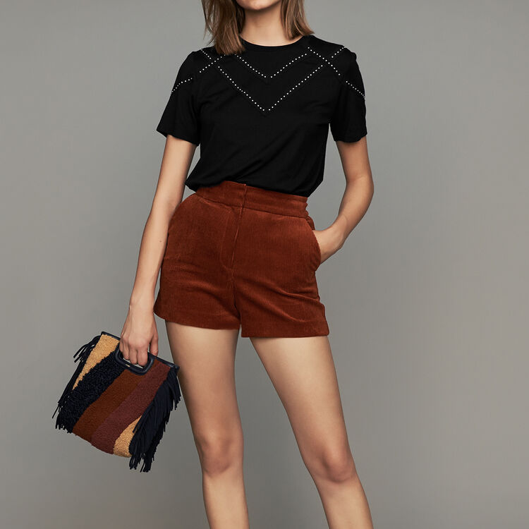 Short en velours côtelé : Jupes & Shorts couleur Caramel