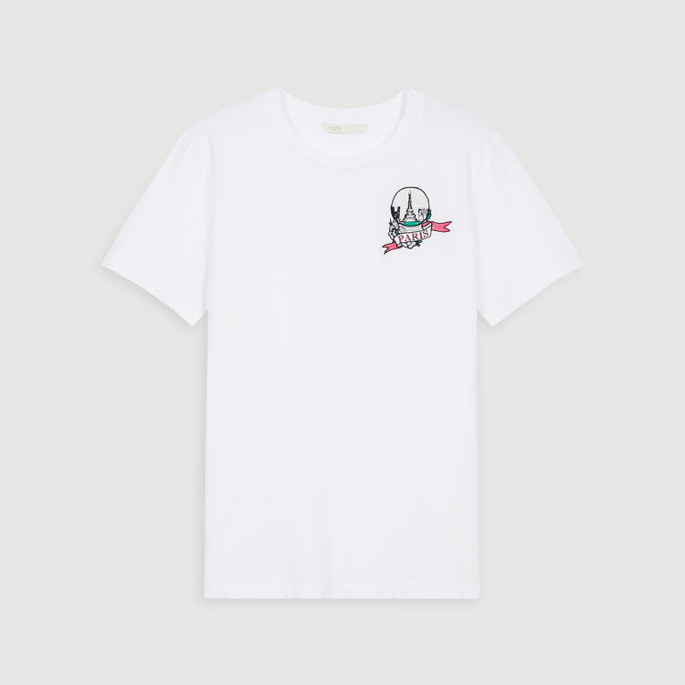 Tee-shirt brodé : T-Shirts couleur BLANC