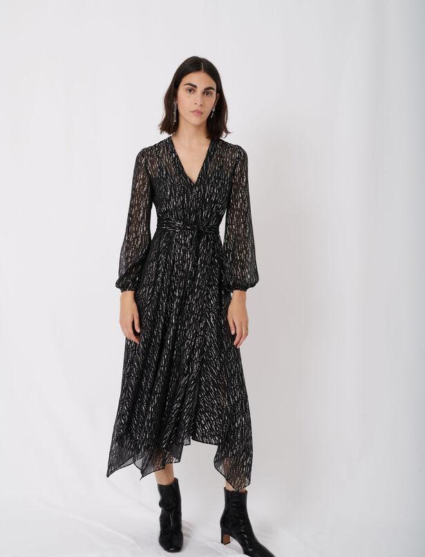 마쥬 원피스 MAJE Robe en mousseline A foulard ceinture,Noir/Argent