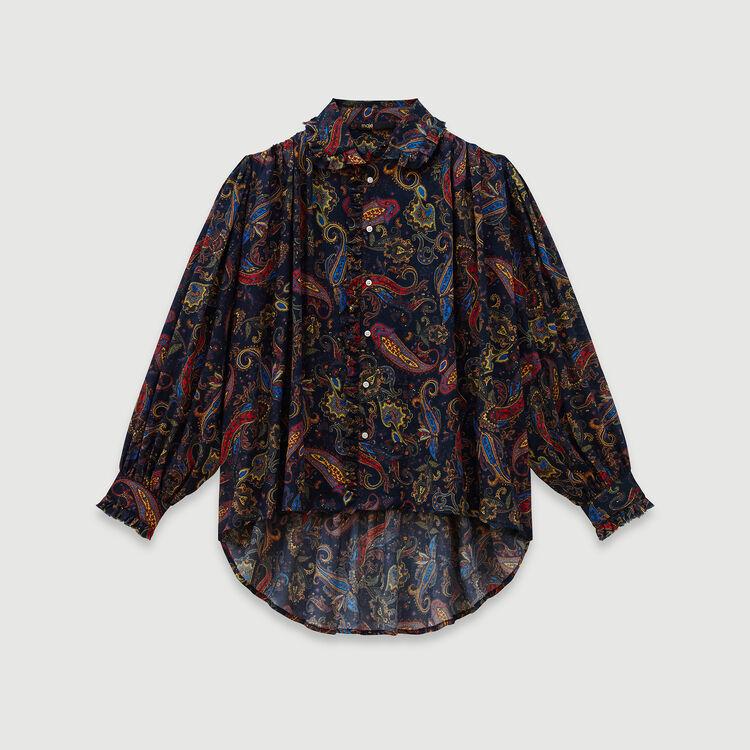Chemise en coton imprimé : Tops & Chemises couleur Marine