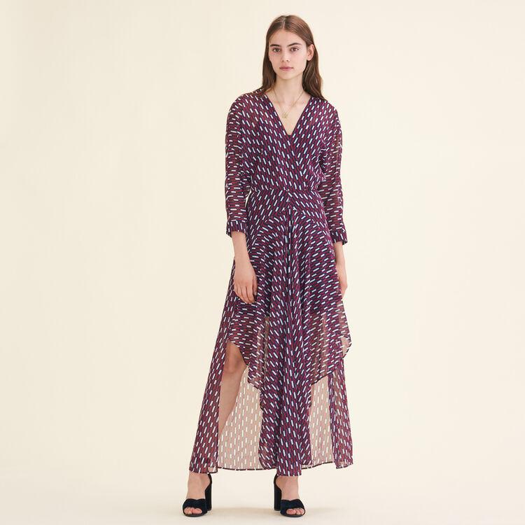 Robe longue à imprimé graphique - Robes - MAJE