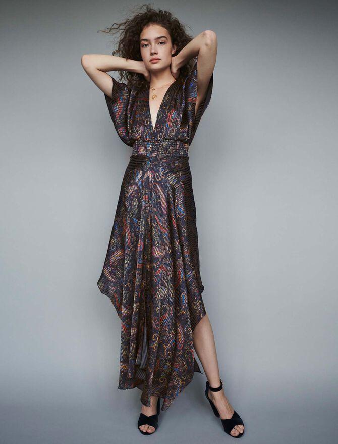Robe-foulard smockée en imprimé dévoré - Robes - MAJE