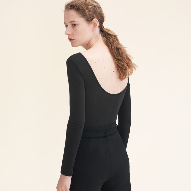 Body en jersey à manches longues : Les Essentiels couleur Black