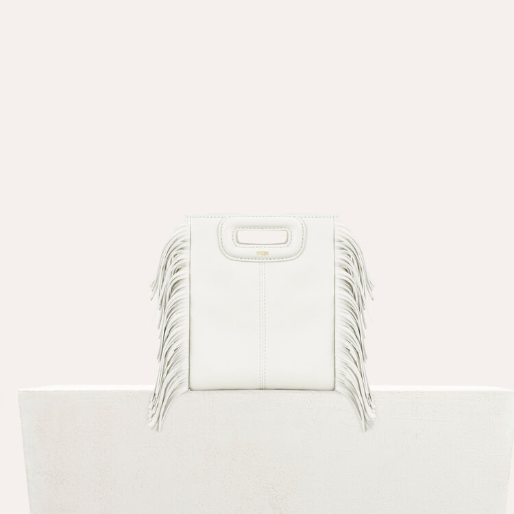Sac M Mini en cuir avec franges : Sacs M couleur Blanc