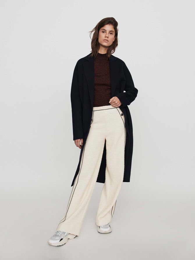 Pantalon large contrasté façon tweed - Pantalons - MAJE