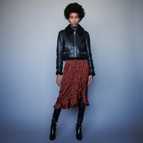 Blouson en cuir à col shearling : Manteaux & Blousons couleur Noir