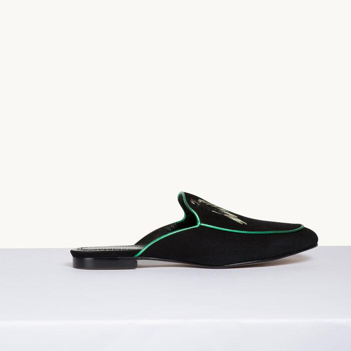 Chausson plat en velours - Chaussures - MAJE
