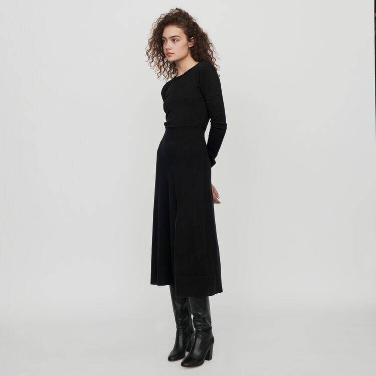 Robe en maille fendue et réversible : Robes couleur Noir